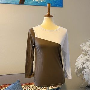 Tops - $8 sale! Long sleeve top/brown and white